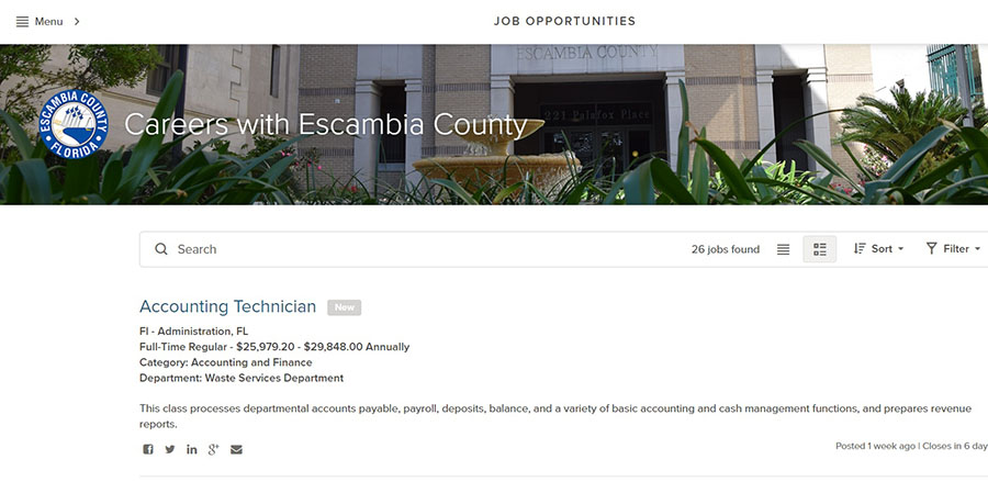 Screenshot of the Escambia County jobs website