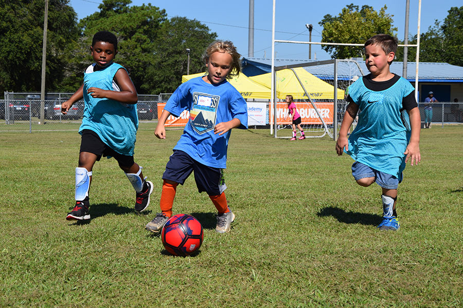 Youth participate in the Kick Start Soccer Clinic at Escambia County's Brent Athletic Park.