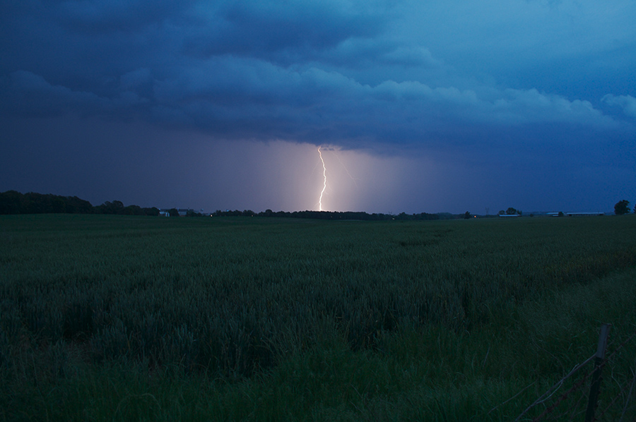 Lightning strikes in a field during a storm.