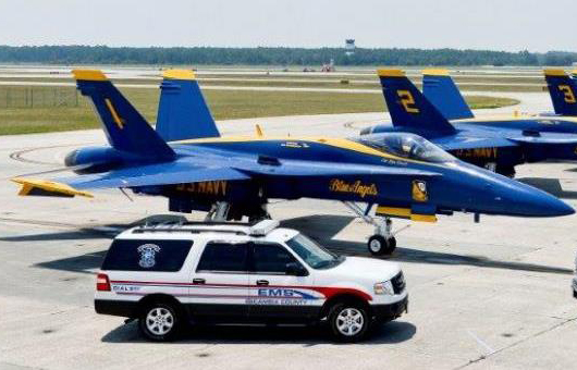 Emergency Medical Services Vehicle with Blue Angels