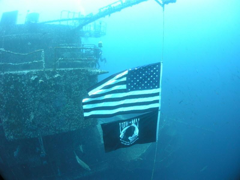 U.S. and POW MIA Flags Fly on the Oriskany Reef