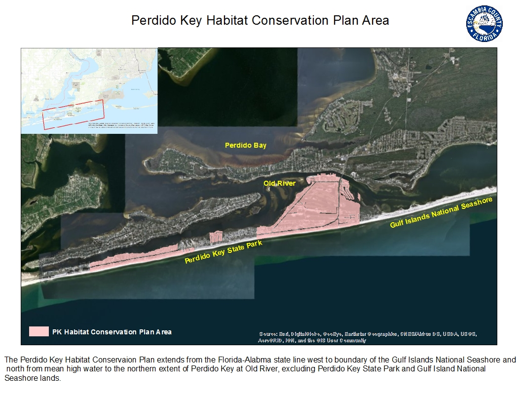 A map depicting the extent of the Perdido Key Habitat Conservation Plan.