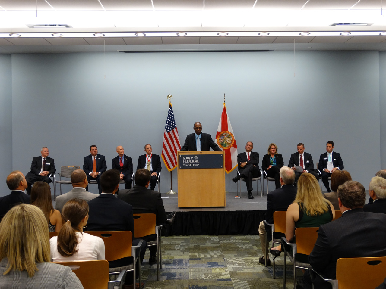 CommissionerMayspeaksattheannouncementceremonyofNavyFederalCreditUnioncomingtoPensacola